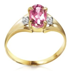 14K. SOLID GOLD RINGS WITH DIAMONDS & PINK TOPAZ